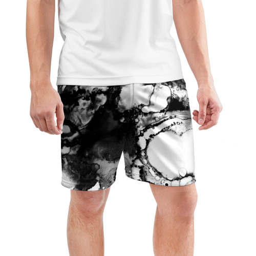Мужские шорты 3D спортивные  Фото 03, Gray&Black abstract