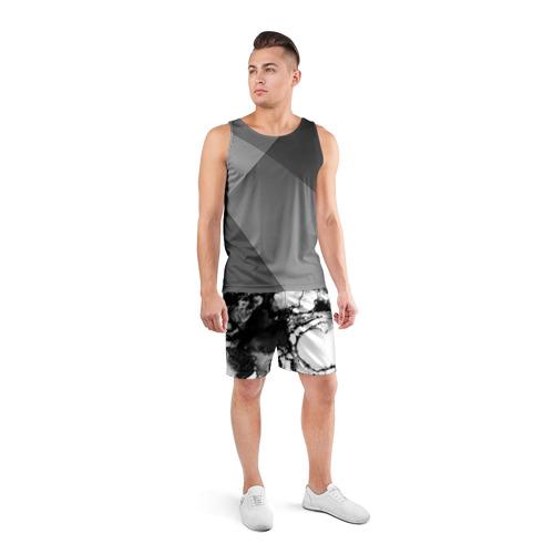 Мужские шорты 3D спортивные  Фото 04, Gray&Black abstract