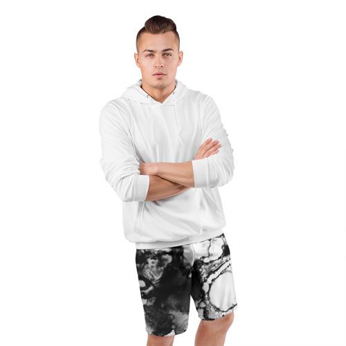 Мужские шорты 3D спортивные  Фото 05, Gray&Black abstract