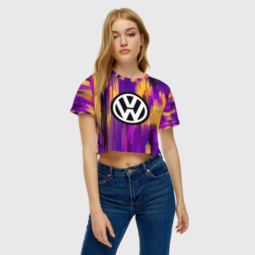 Женская футболка 3D укороченная  Фото 04, Volkswagen abstract sport 2018