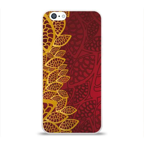 Чехол для Apple iPhone 6 силиконовый глянцевый  Фото 01, Золотое на Красном