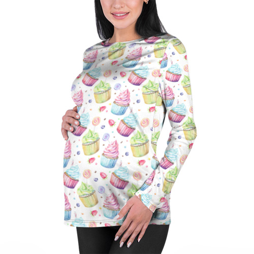 Женский лонгслив 3D для беременных  Фото 01, Cupcakes