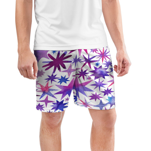 Мужские шорты 3D спортивные  Фото 03, Звёзды white
