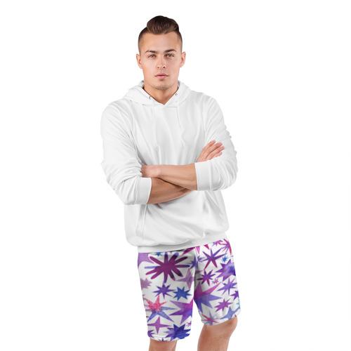 Мужские шорты 3D спортивные  Фото 05, Звёзды white