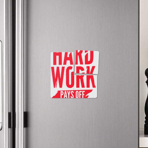 Магнитный плакат 2Х2  Фото 04, Hard work pays off. Red