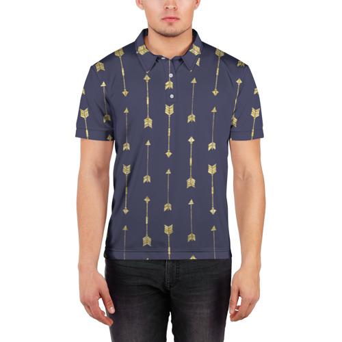 Мужская рубашка поло 3D  Фото 03, Золотые стрелы