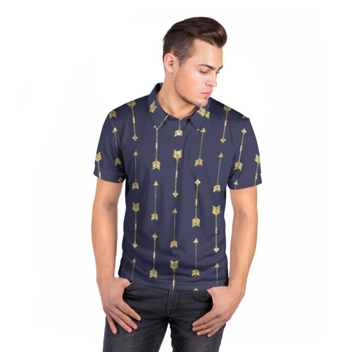 Мужская рубашка поло 3D  Фото 05, Золотые стрелы