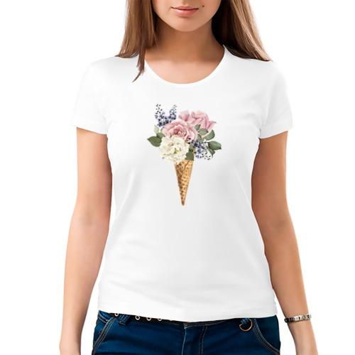 Женская футболка хлопок  Фото 03, Цветочное мороженое