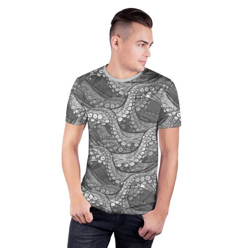 Мужская футболка 3D спортивная  Фото 03, Octopus dark