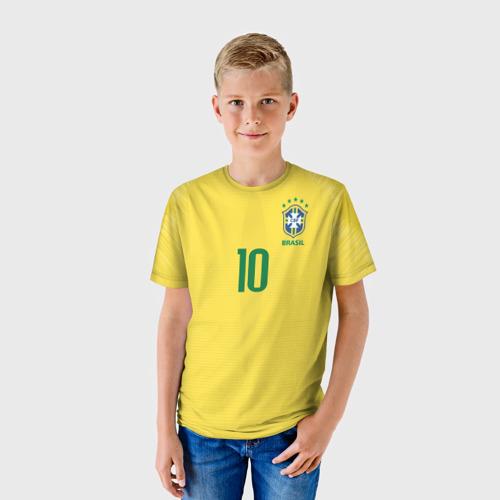 Детская футболка 3D Неймар 2018 домашняя