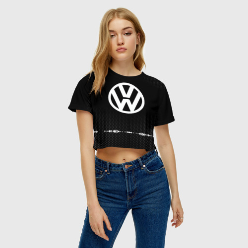 Женская футболка 3D укороченная  Фото 04, Volkswagen sport auto abstract