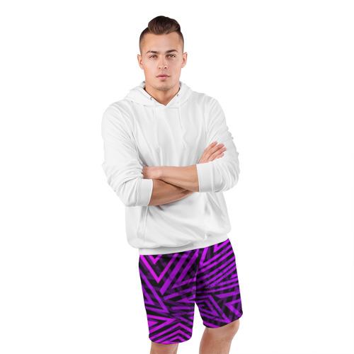 Мужские шорты 3D спортивные  Фото 05, Неоновая геометрия