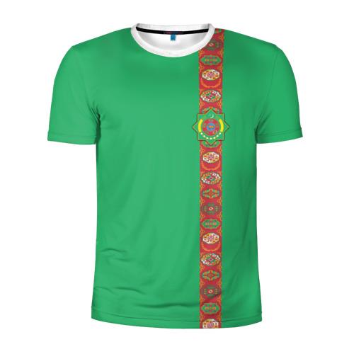 Мужская футболка 3D спортивная  Фото 01, Туркменистан, лента с гербом