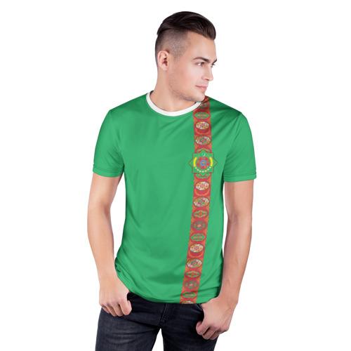 Мужская футболка 3D спортивная  Фото 03, Туркменистан, лента с гербом