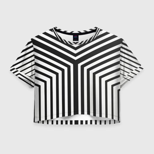 Женская футболка Crop-top 3D Кибер Зебра