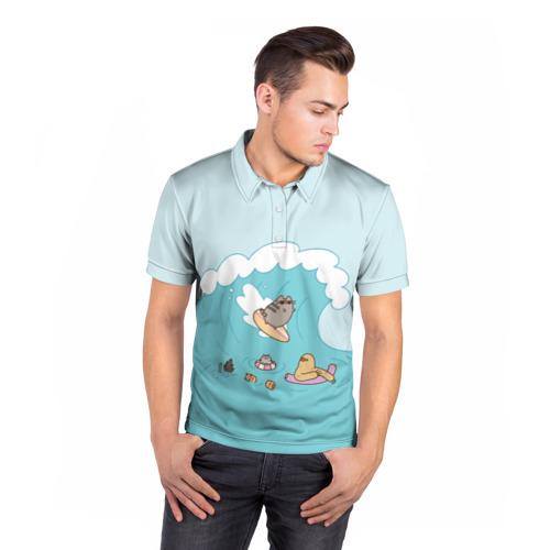 Мужская рубашка поло 3D  Фото 05, Pusheen сёрфер