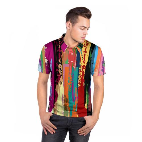 Мужская рубашка поло 3D  Фото 05, Яркие полосы