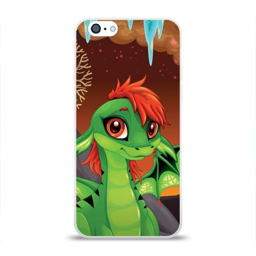 Чехол для Apple iPhone 6 силиконовый глянцевый  Фото 01, Зеленый дракон
