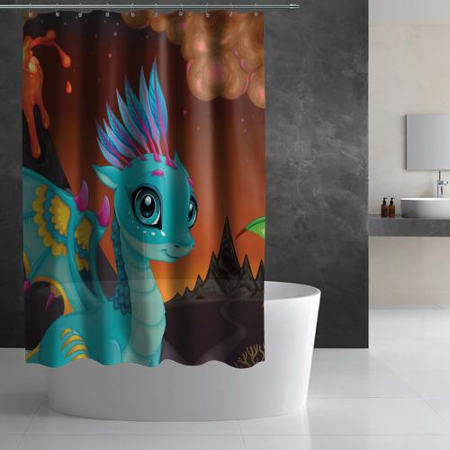 Штора 3D для ванной  Фото 03, Синий дракон