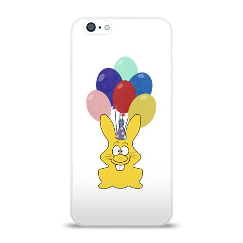 Чехол для Apple iPhone 6 силиконовый глянцевый  Фото 01, Зайчик с шарами