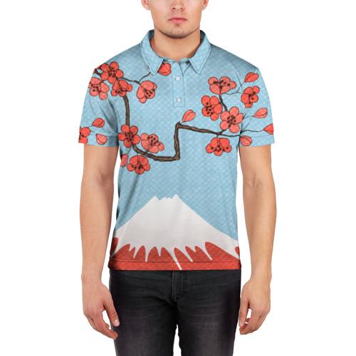 Мужская рубашка поло 3D  Фото 03, Гора Фудзияма