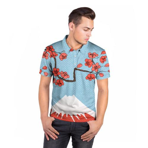 Мужская рубашка поло 3D  Фото 05, Гора Фудзияма