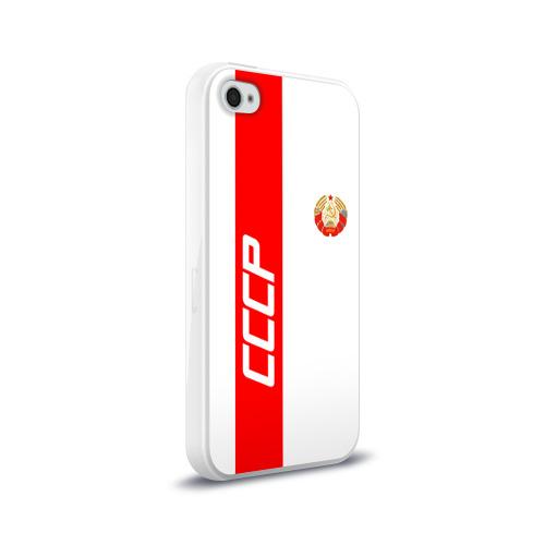 Чехол для Apple iPhone 4/4S силиконовый глянцевый СССР-white collection  Фото 01