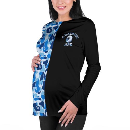 Женский лонгслив 3D для беременных  Фото 01, Blue BAPE Camo