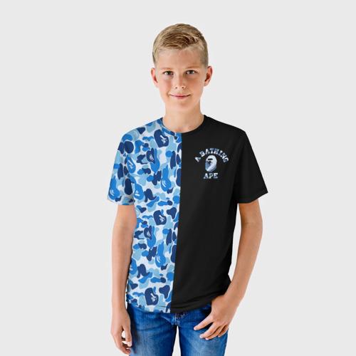 Детская футболка 3D  Фото 01, Blue BAPE Camo