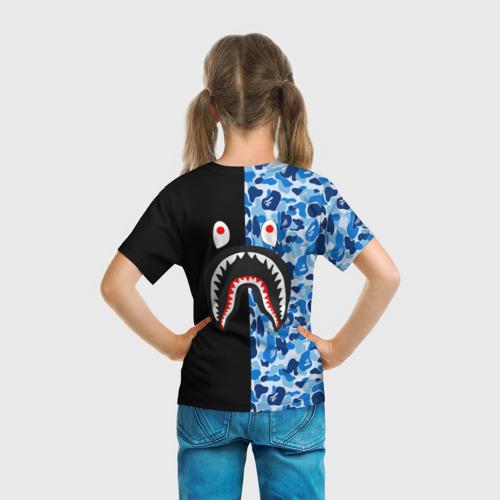 Детская футболка 3D  Фото 04, Blue BAPE Camo