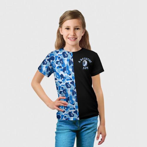 Детская футболка 3D  Фото 03, Blue BAPE Camo