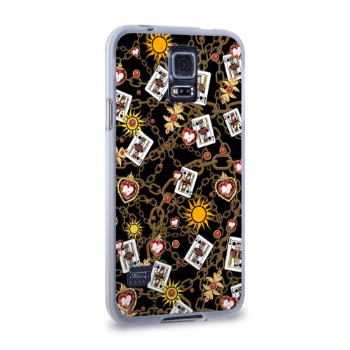 Чехол для Samsung Galaxy S5 силиконовый  Фото 02, Cards, suns, chains
