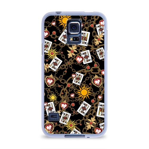 Чехол для Samsung Galaxy S5 силиконовый  Фото 01, Cards, suns, chains