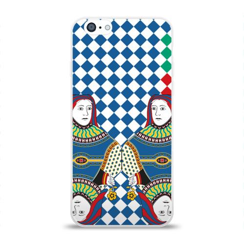 Чехол для Apple iPhone 6 силиконовый глянцевый  Фото 01, Red Queen white blue green