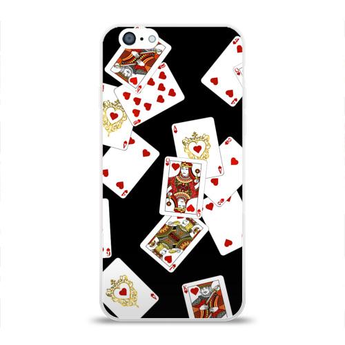 Чехол для Apple iPhone 6 силиконовый глянцевый  Фото 01, Cards dark pattern