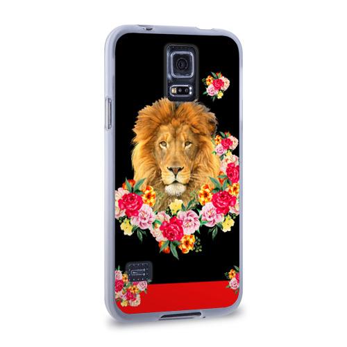 Чехол для Samsung Galaxy S5 силиконовый  Фото 02, Lion with flowers