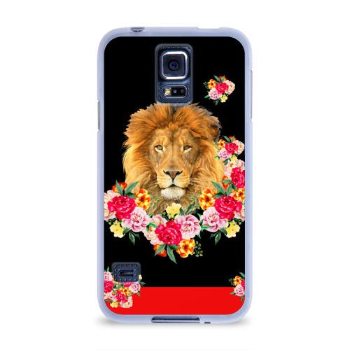 Чехол для Samsung Galaxy S5 силиконовый  Фото 01, Lion with flowers