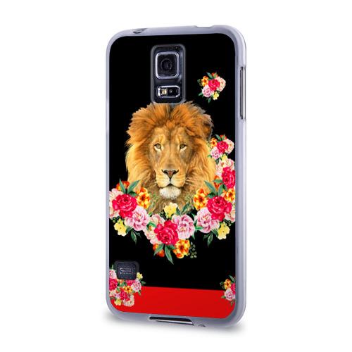 Чехол для Samsung Galaxy S5 силиконовый  Фото 03, Lion with flowers