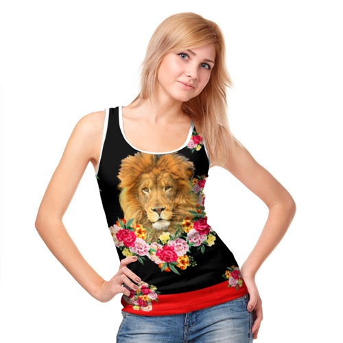 Женская майка 3D  Фото 05, Lion with flowers