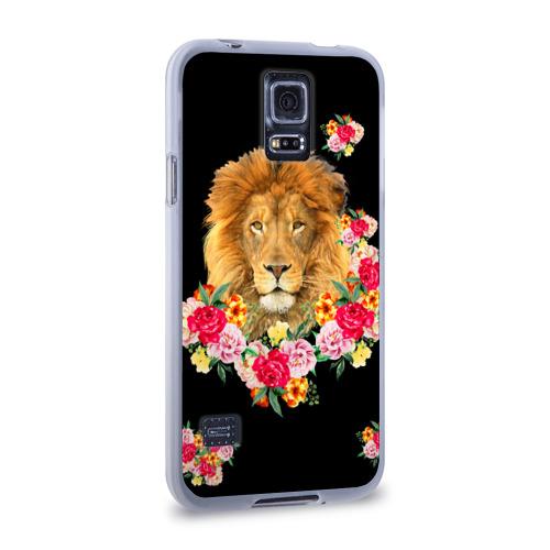Чехол для Samsung Galaxy S5 силиконовый  Фото 02, Лев и розы