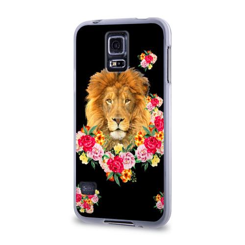 Чехол для Samsung Galaxy S5 силиконовый  Фото 03, Лев и розы