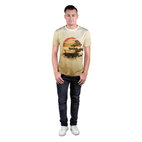Мужская футболка 3D спортивная  Фото 04, Дерево на закате