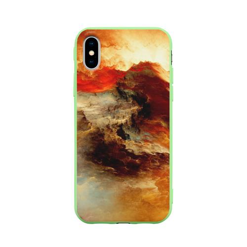 Чехол для Apple iPhone X силиконовый матовый огненное небо