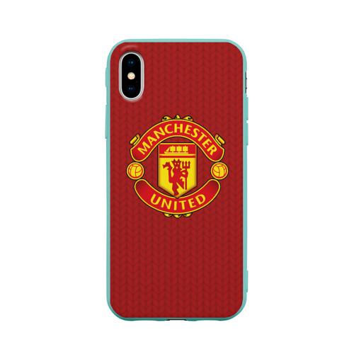 Чехол для Apple iPhone X силиконовый матовый Manchester United Knitted