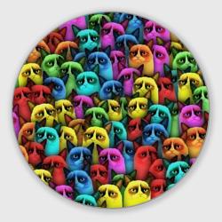 Разноцветные сердитые коты