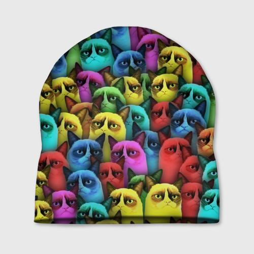 Шапка 3D Разноцветные сердитые коты