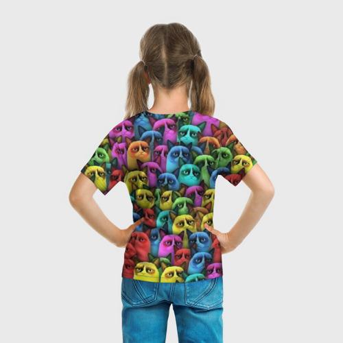Детская футболка 3D  Фото 04, Разноцветные сердитые коты
