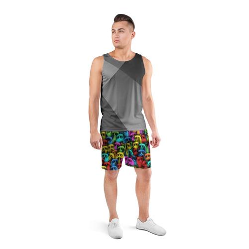Мужские шорты 3D спортивные  Фото 04, Разноцветные сердитые коты