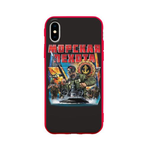 Чехол для Apple iPhone X силиконовый матовый Морская пехота