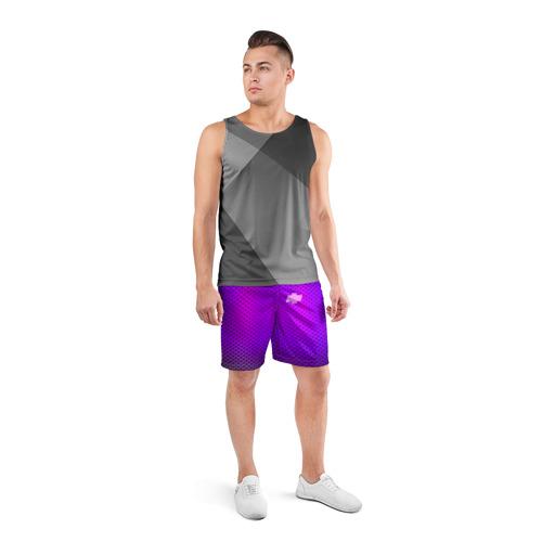 Мужские шорты 3D спортивные  Фото 04, Chevroler неоновый карбон